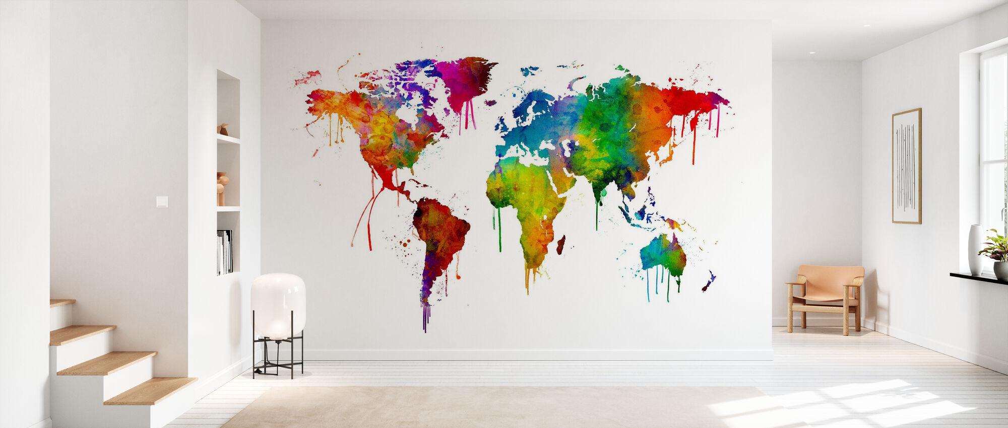 Akvarell World Kort - Tapet - Gang