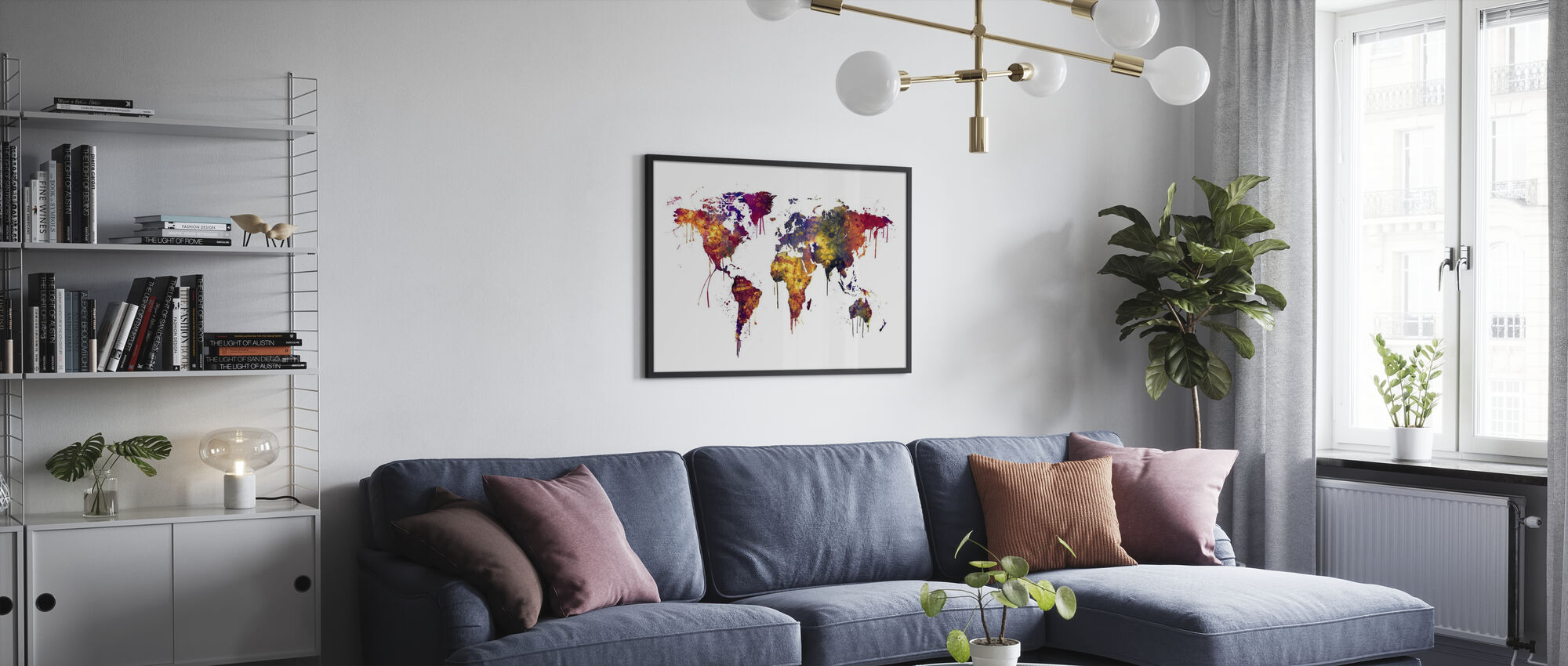 Watercolor World Map 2 - Poster - Living Room