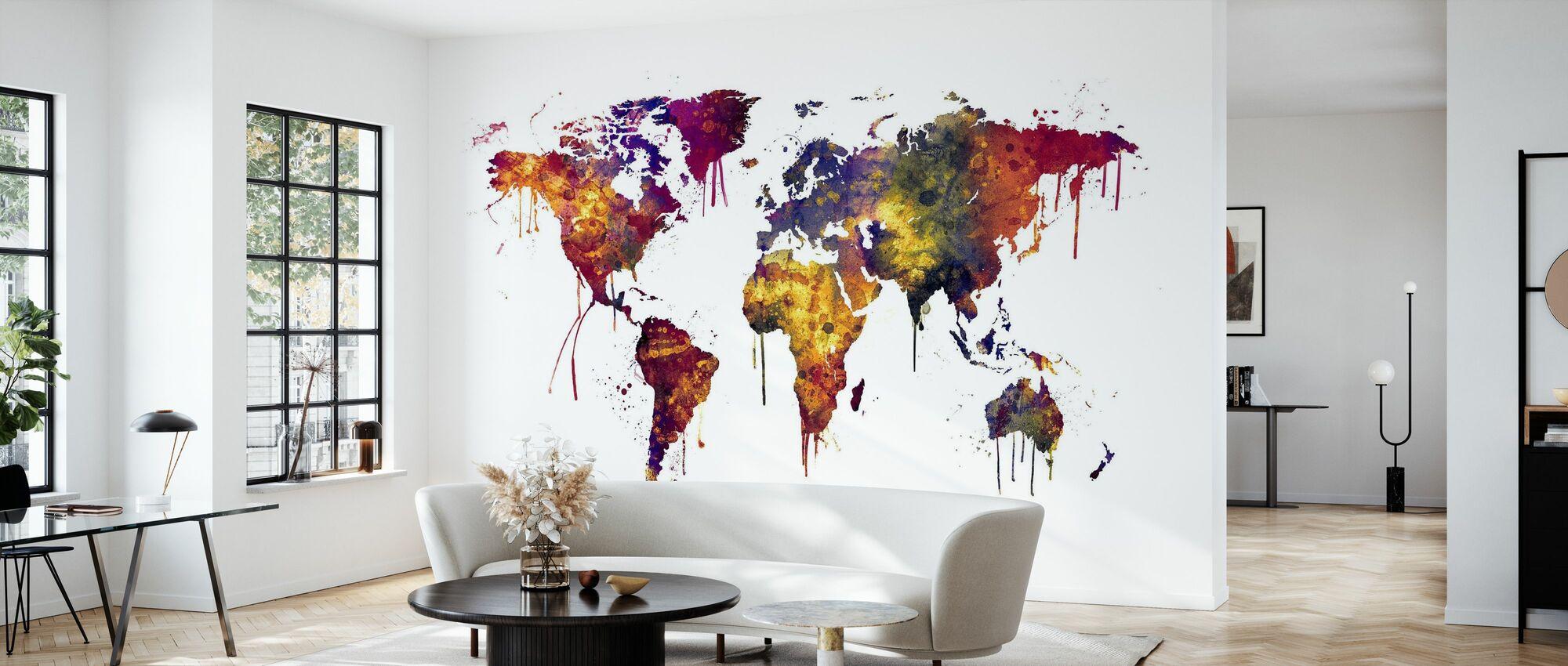Watercolor World Map 2 - Wallpaper - Living Room