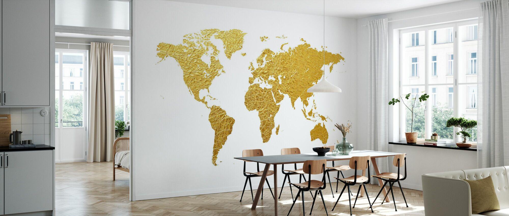 World Map Gold - Wallpaper - Kitchen