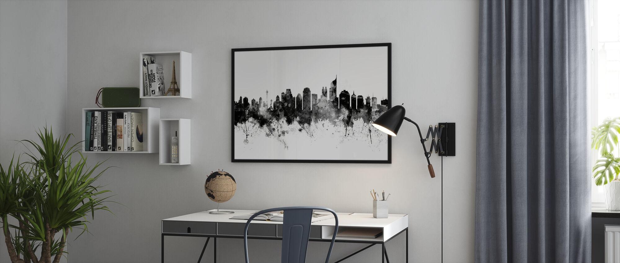 Jakarta Skyline, zwart-wit - Ingelijste print - Kantoor