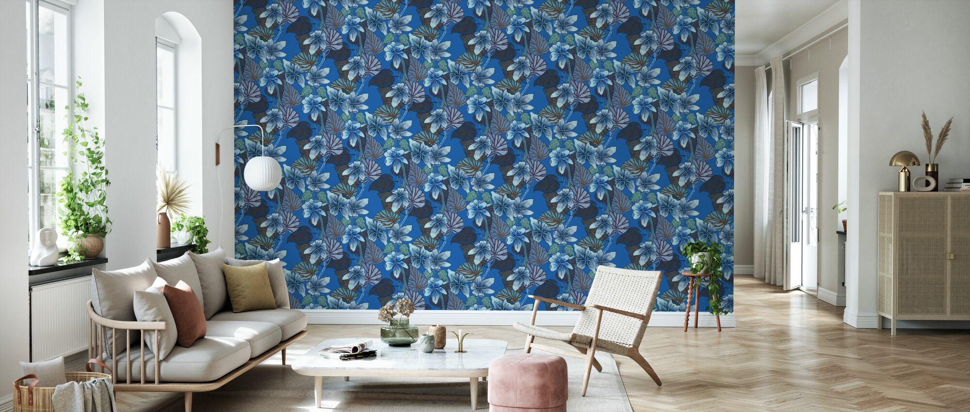 Purple Vein - Blue - Wallpaper - Living Room