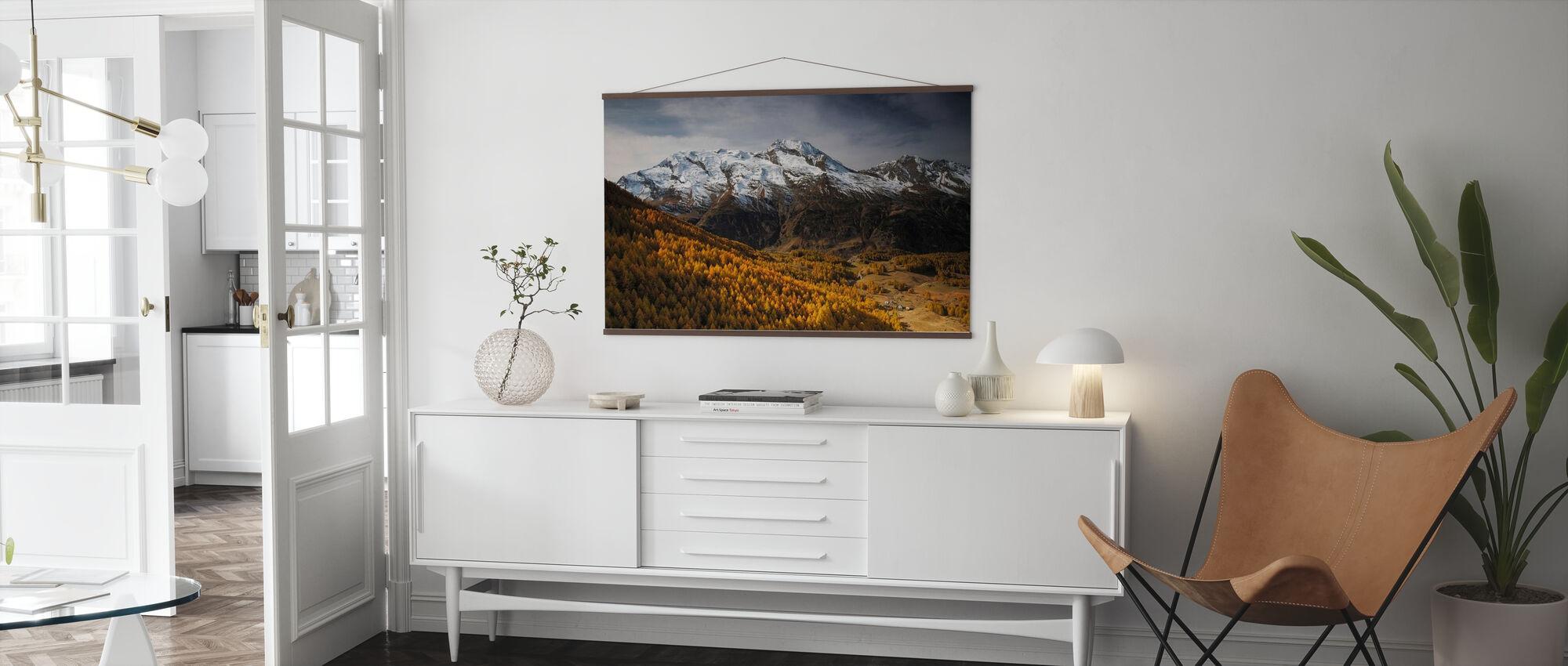 Gezicht op Le Mont Pourri - Poster - Woonkamer