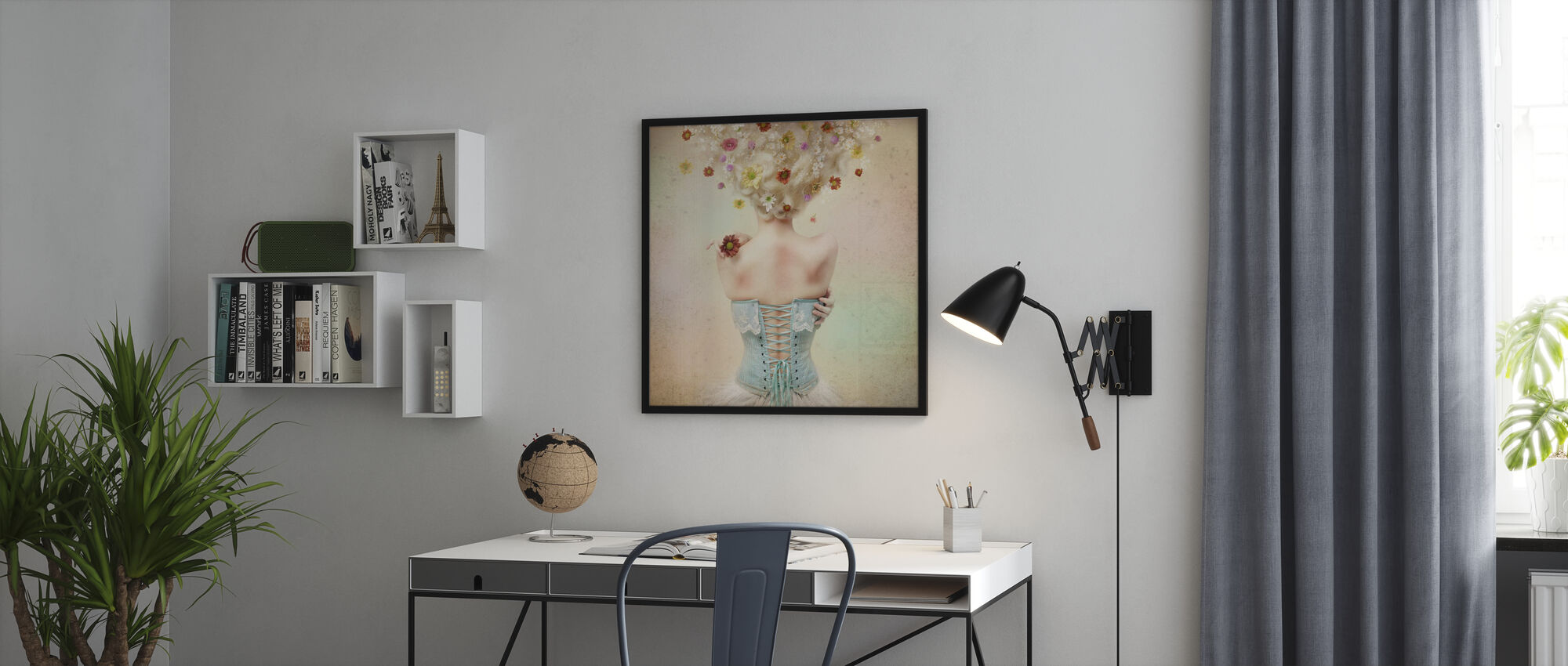 Mädchen des Blumengartens - Poster - Büro
