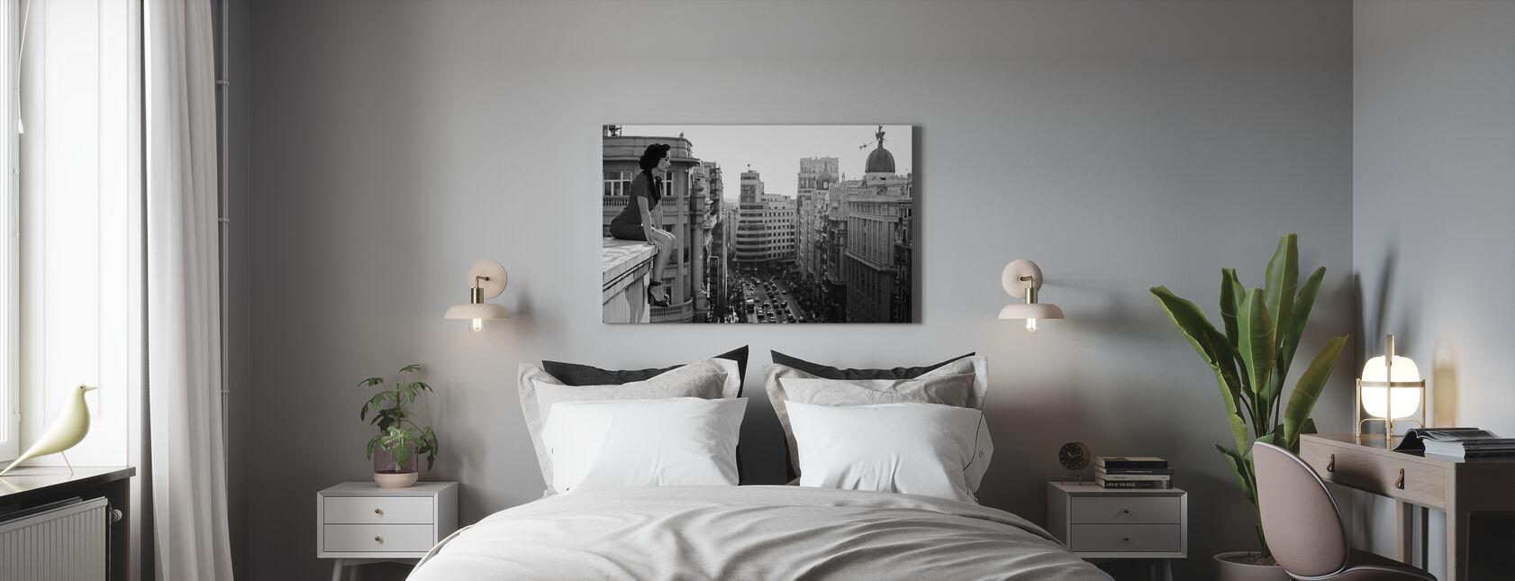 Mad Madrid, musta ja valkoinen - Canvastaulu - Makuuhuone