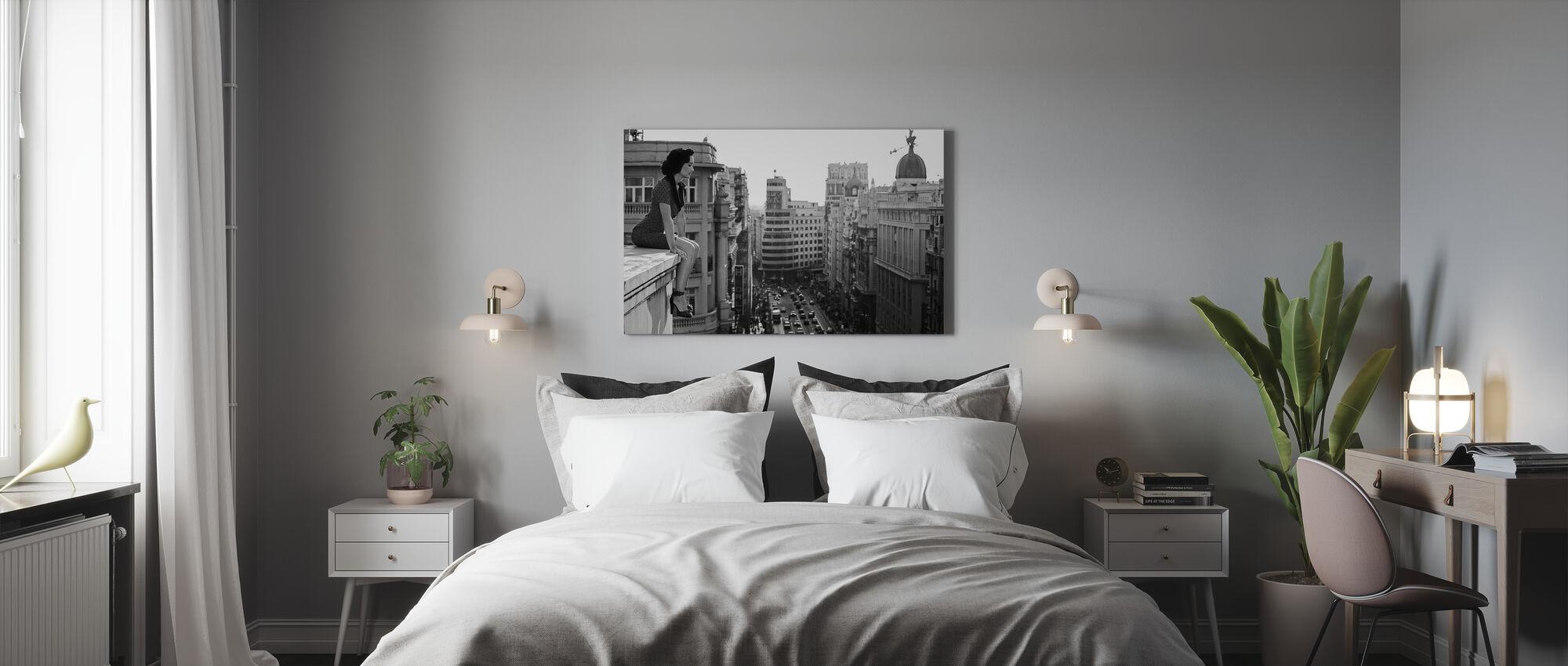Mad Madrid, black and white - Canvas print - Bedroom