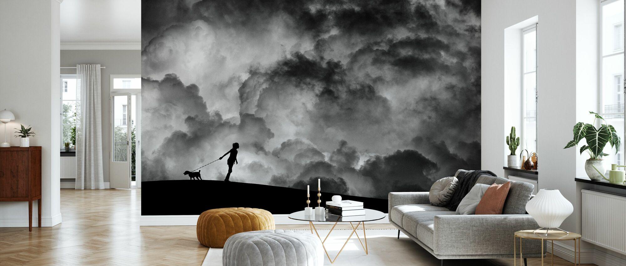 Forspil til drømmen, sort og hvid - Tapet - Stue