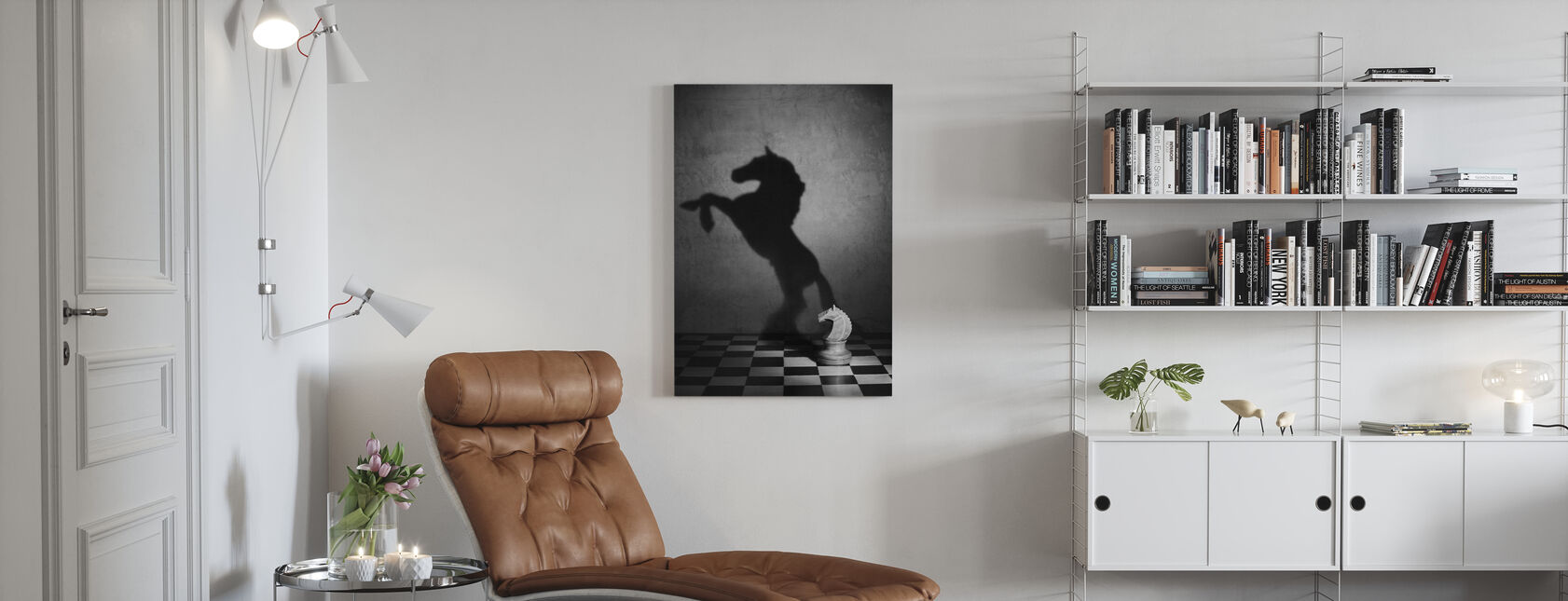 The Soul of a Mustang, black and white - Canvas print - Living Room