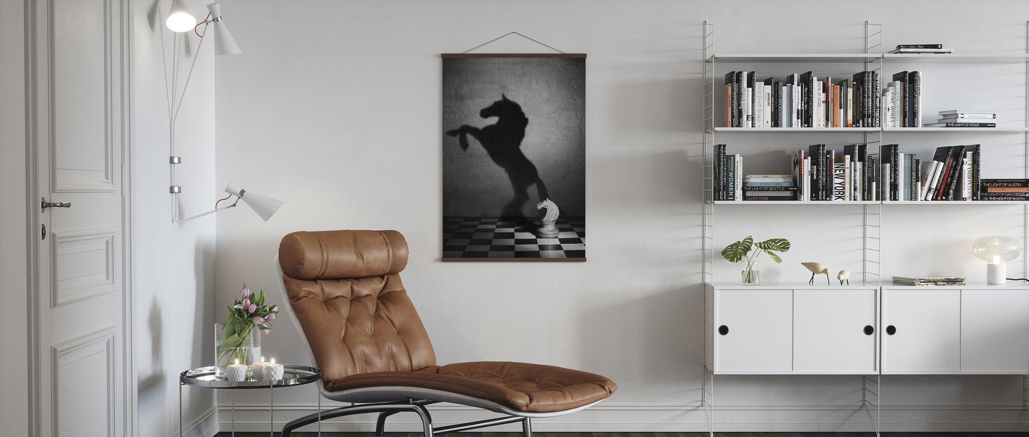 Die Seele eines Mustang, schwarz/weiß - Poster - Wohnzimmer