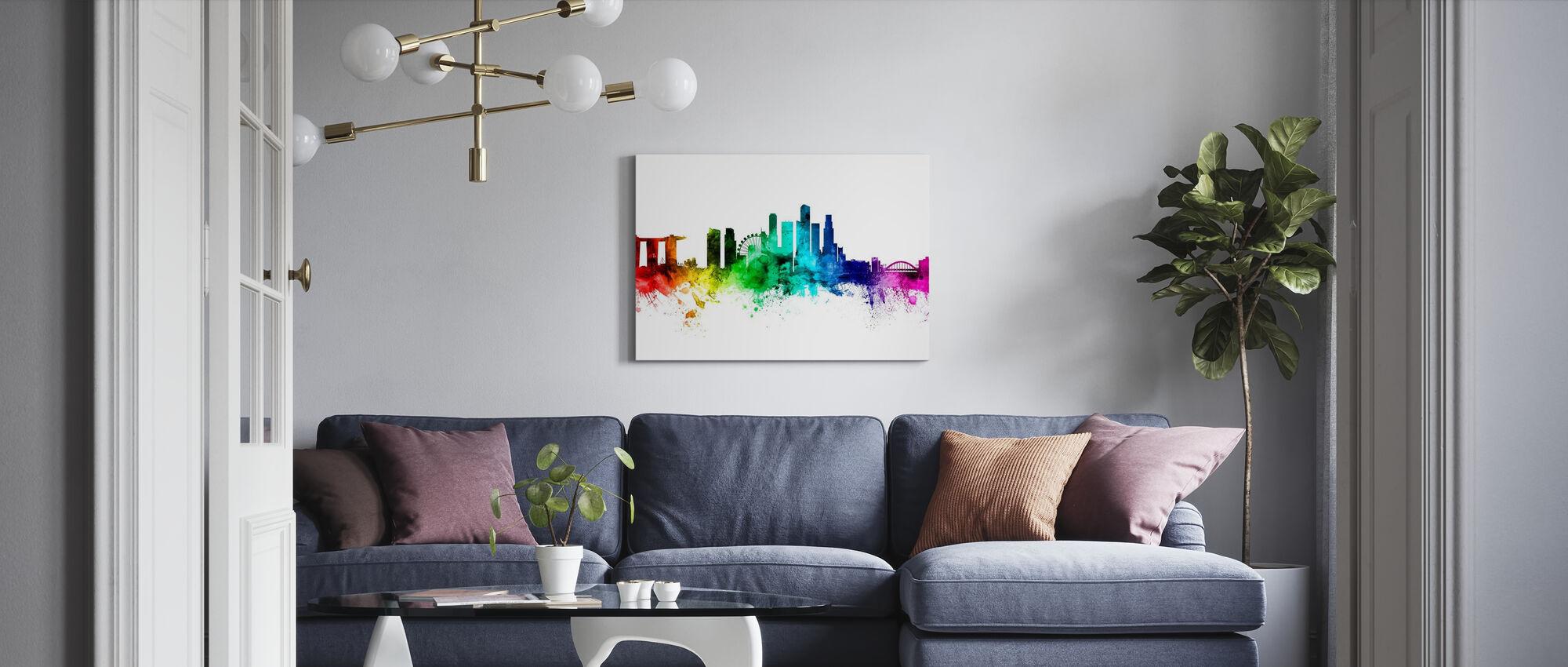 Singapore Skyline Rainbow - Canvas print - Living Room