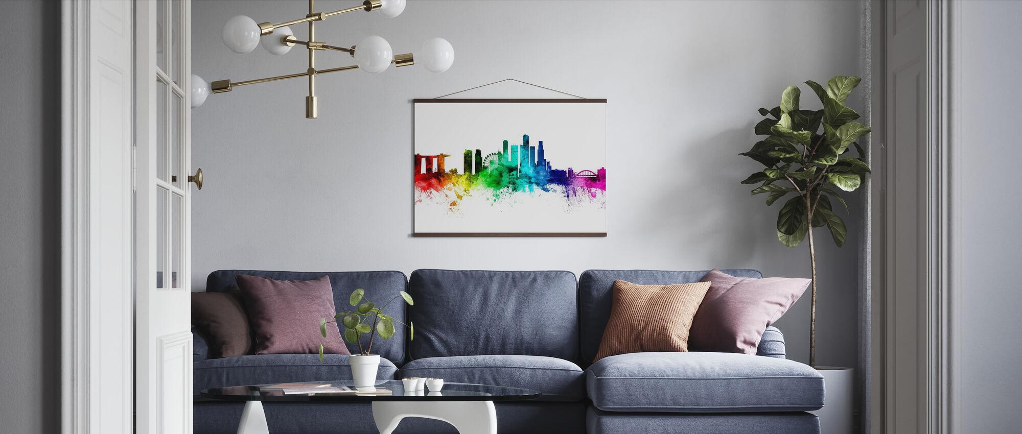 Singapur Skyline Regenbogen - Poster - Wohnzimmer