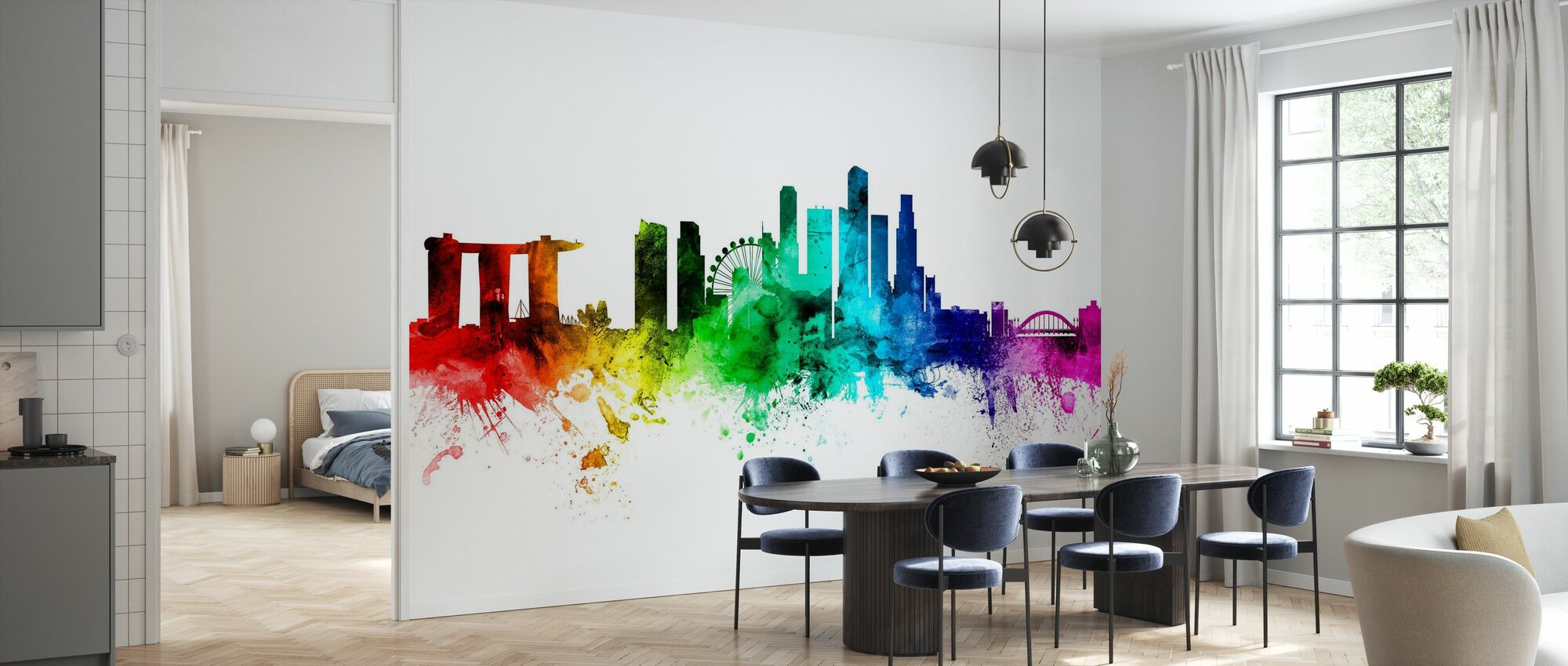 Singapore Skyline Rainbow - Wallpaper - Kitchen