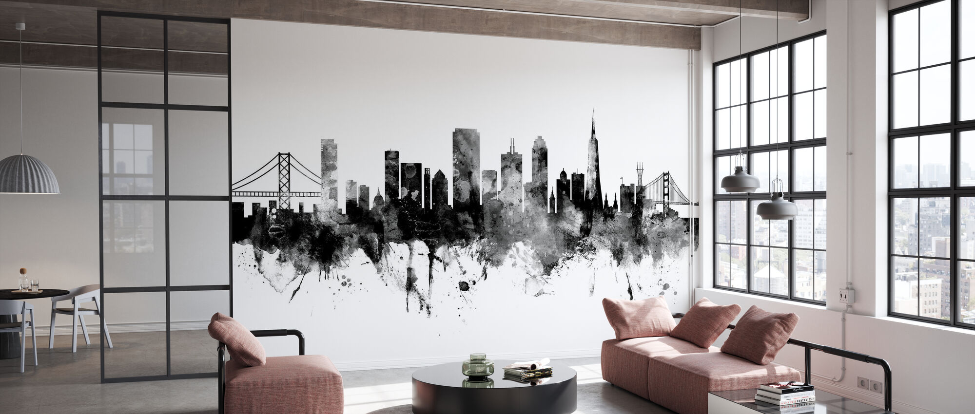 San Francisco City Skyline, black and white - Wallpaper - Office
