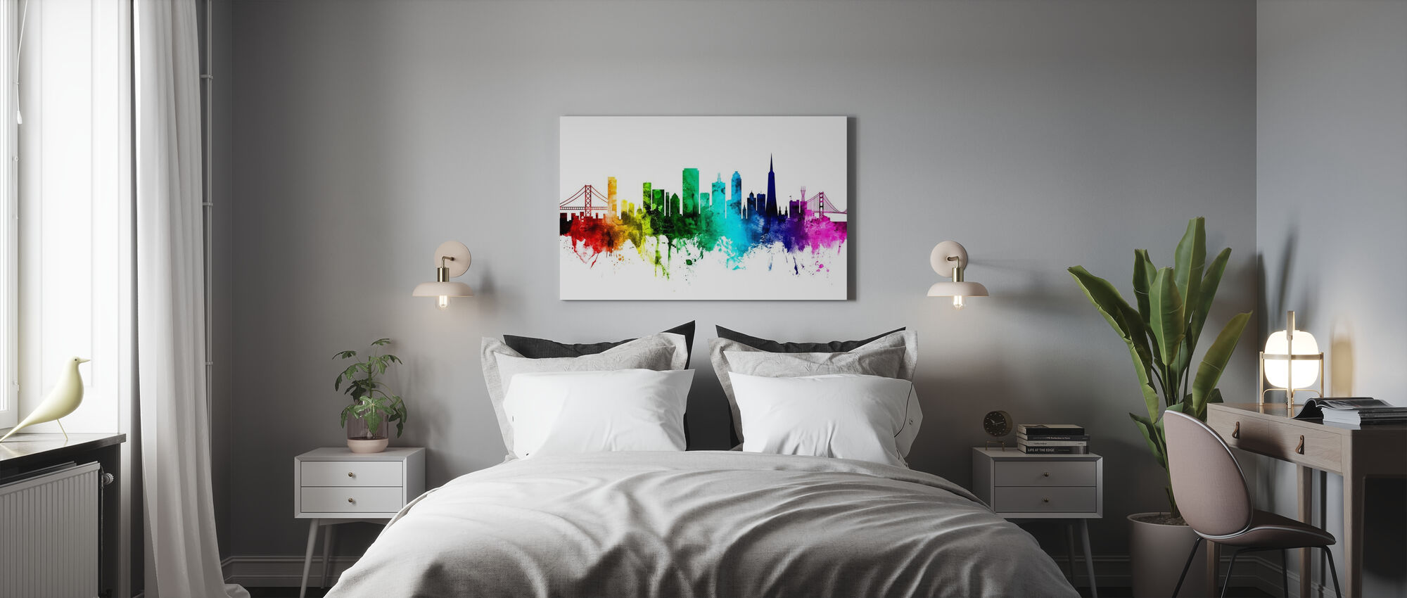 San Francisco City Skyline Rainbow - Canvas print - Bedroom