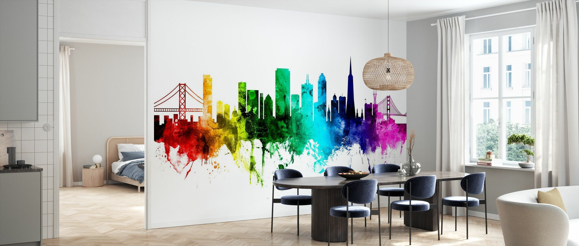 San Francisco City Skyline Rainbow - Wallpaper - Kitchen