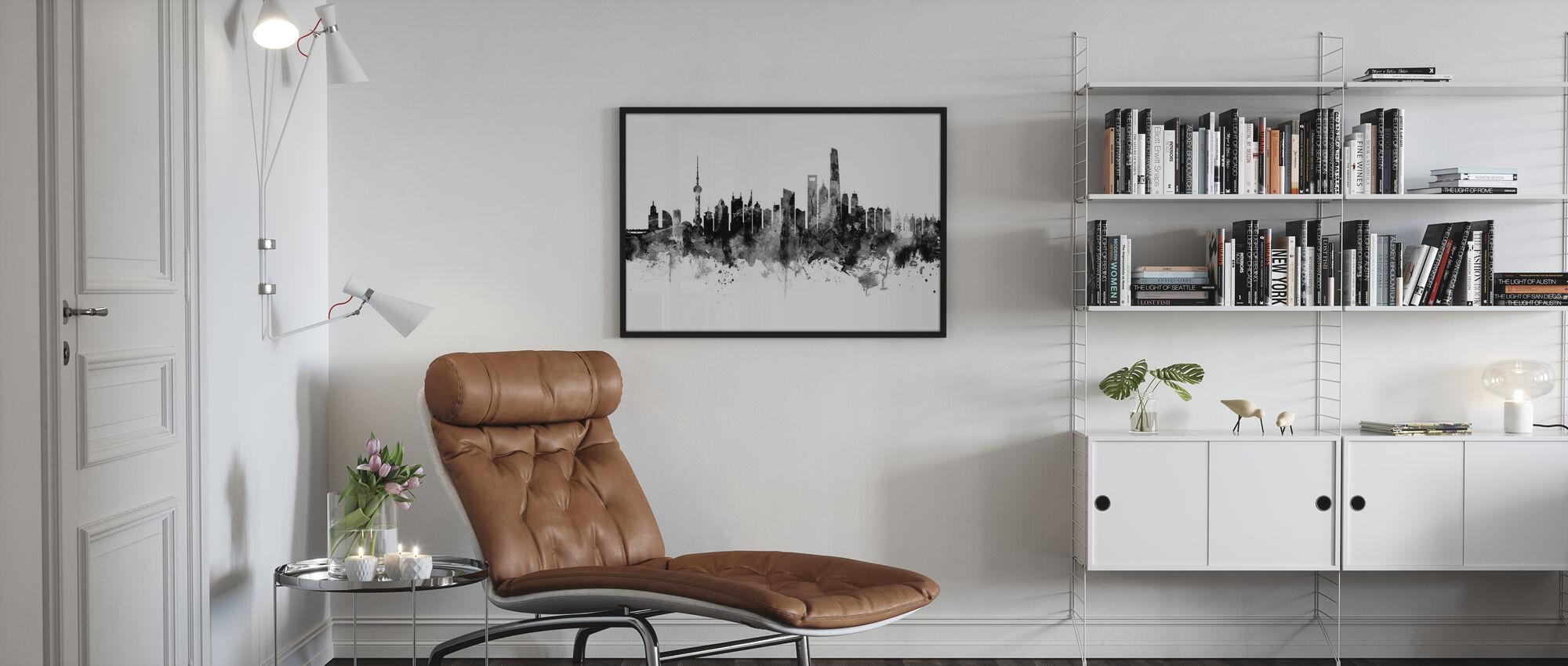 Shanghai Skyline, svart och vitt - Inramad tavla - Vardagsrum