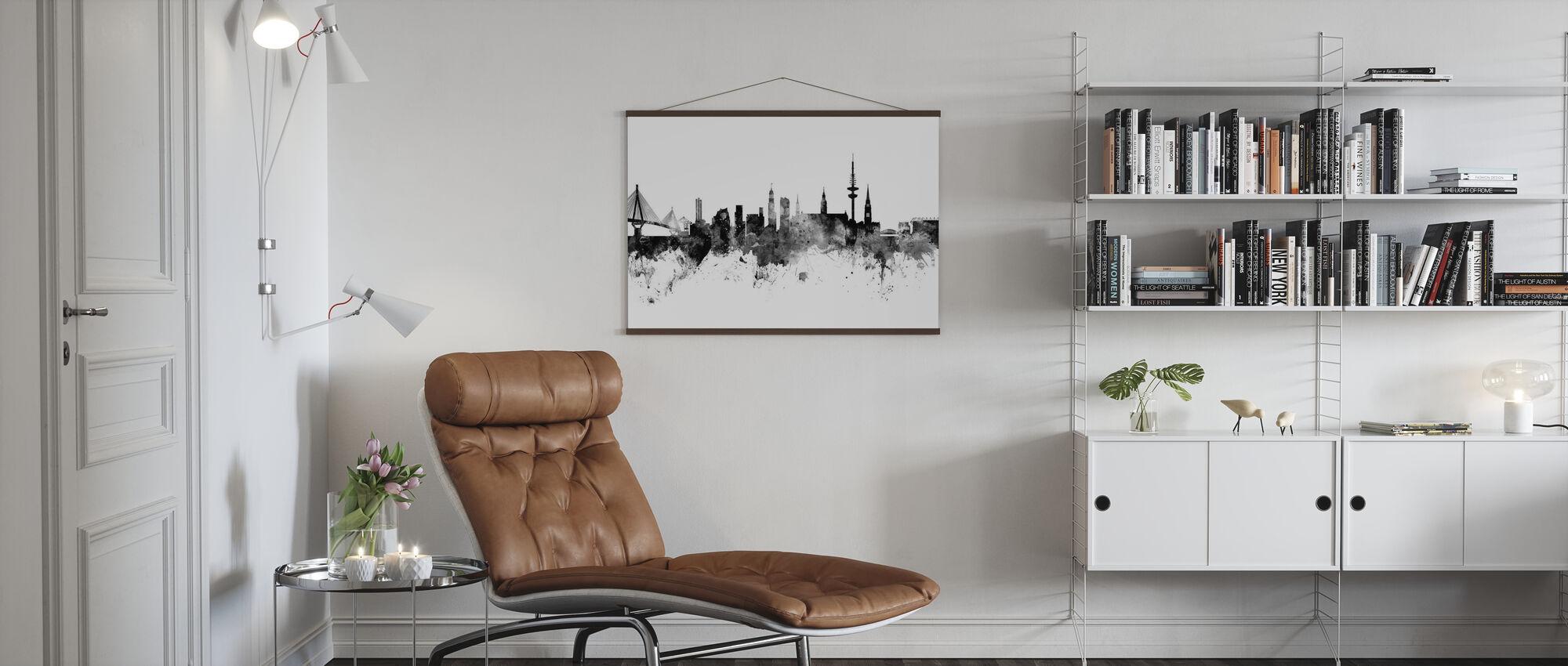 Hamburg Skyline, schwarz/weiß - Poster - Wohnzimmer