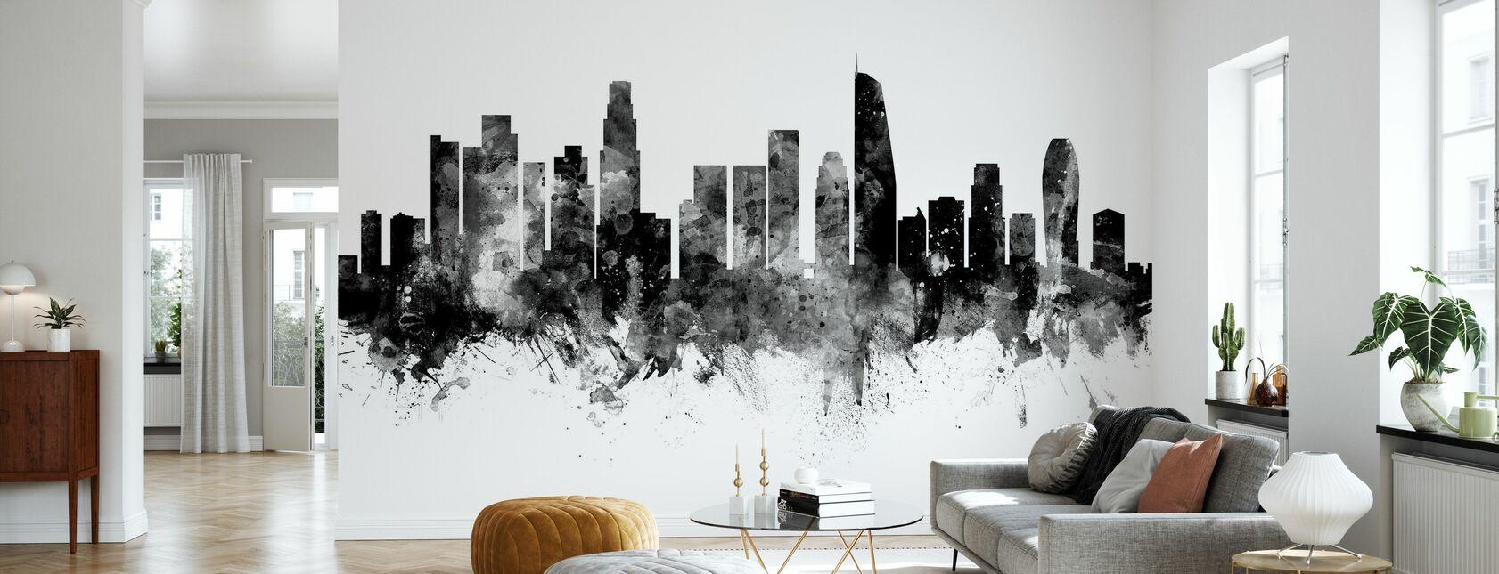 Los Angeles California Skyline, black and white 2 - Wallpaper - Living Room
