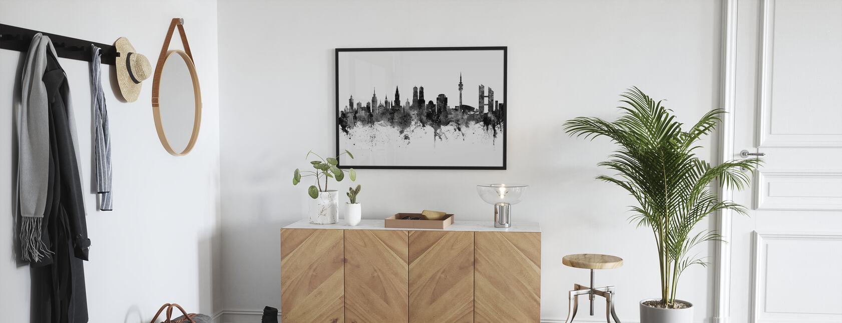 Munich Skyline, black and white - Framed print - Hallway