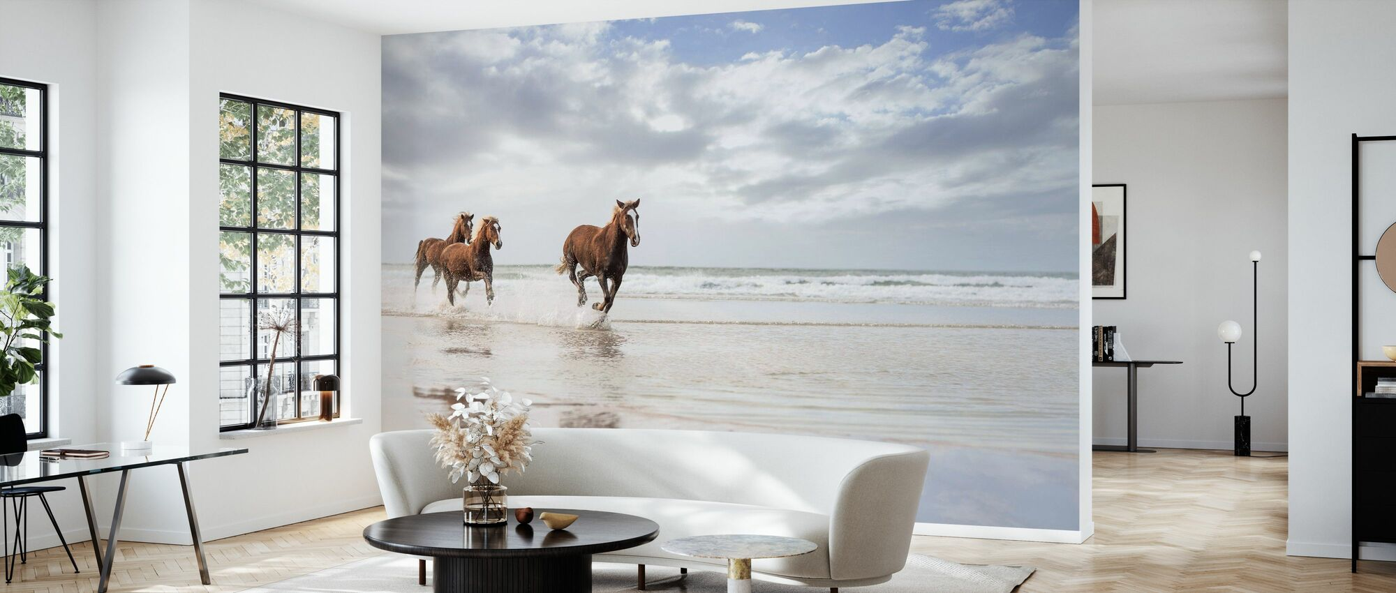 Horses on South African Beach - Wallpaper - Living Room