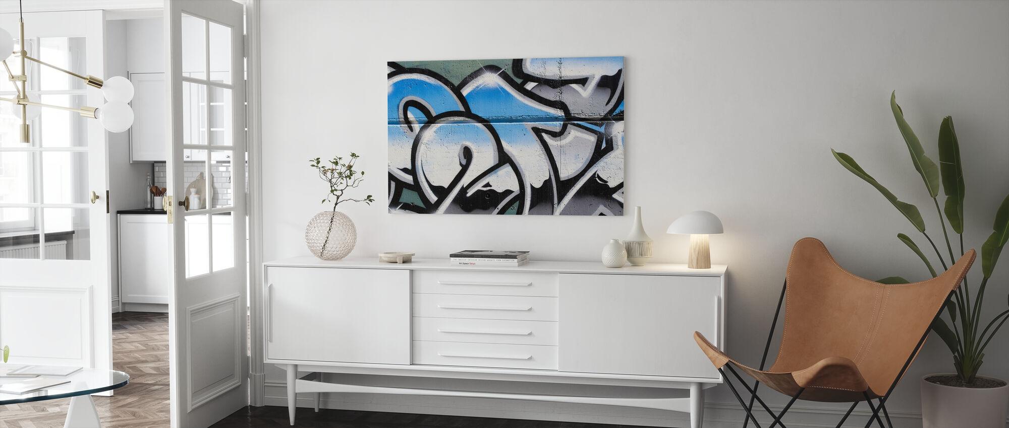 Sininen graffiti - Canvastaulu - Olohuone