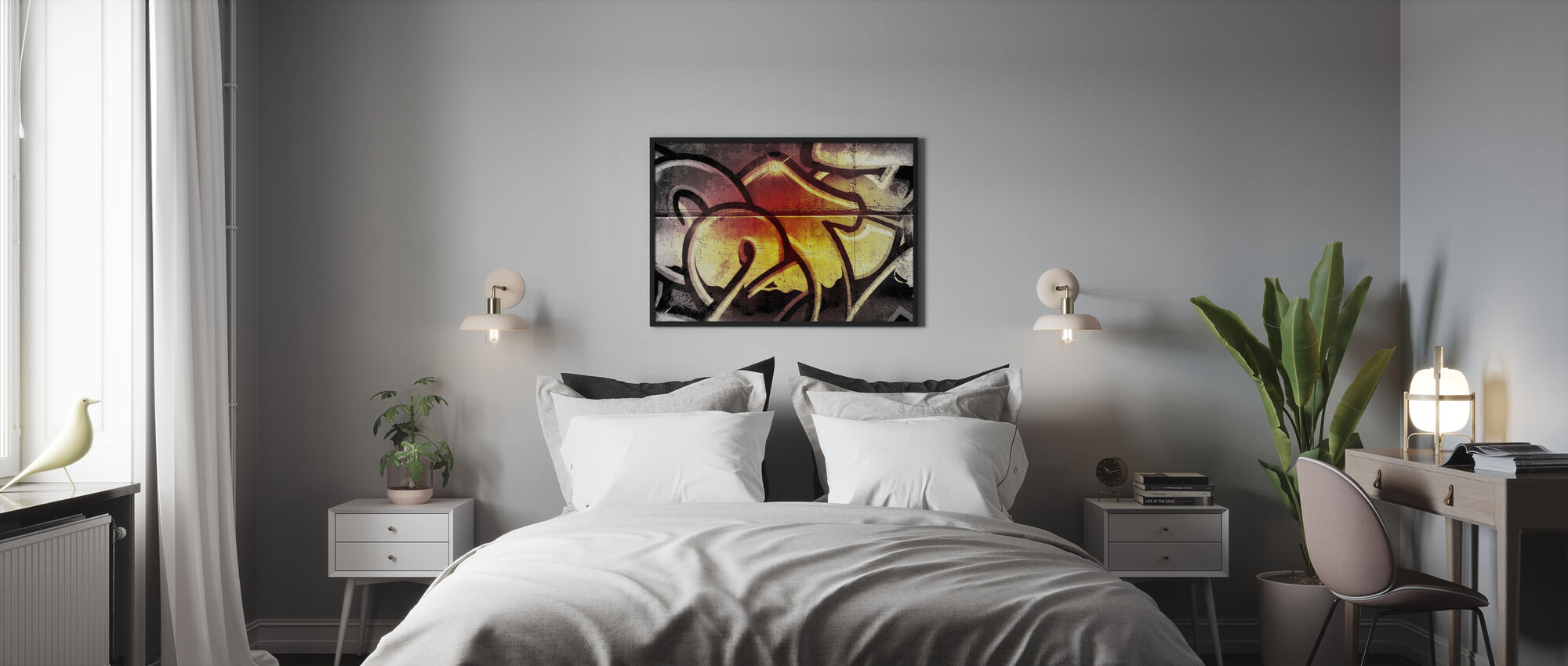 Gouden Graffiti - Ingelijste print - Slaapkamer