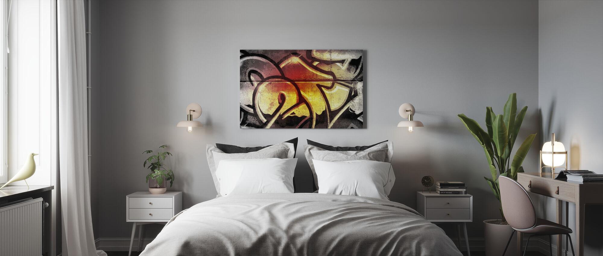 Kultainen graffiti - Canvastaulu - Makuuhuone