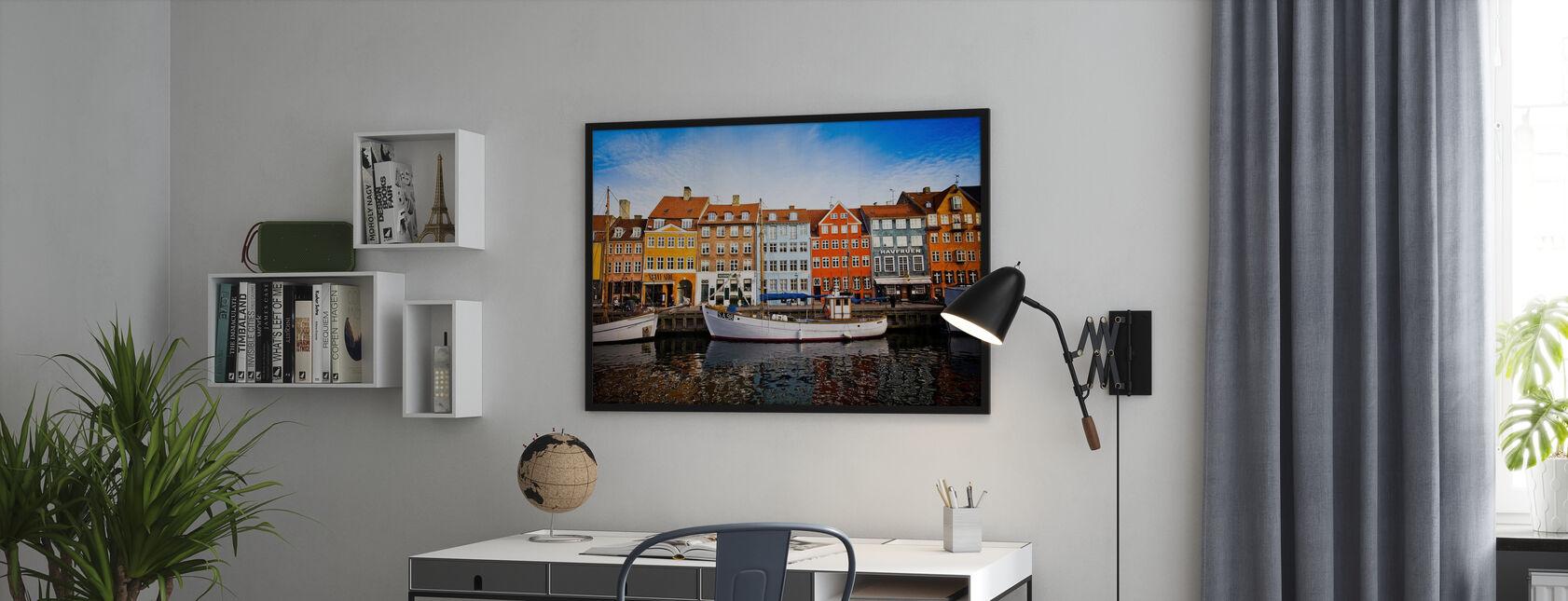 Boats in Nyhavn, Copenhagen, Denmark - Framed print - Office