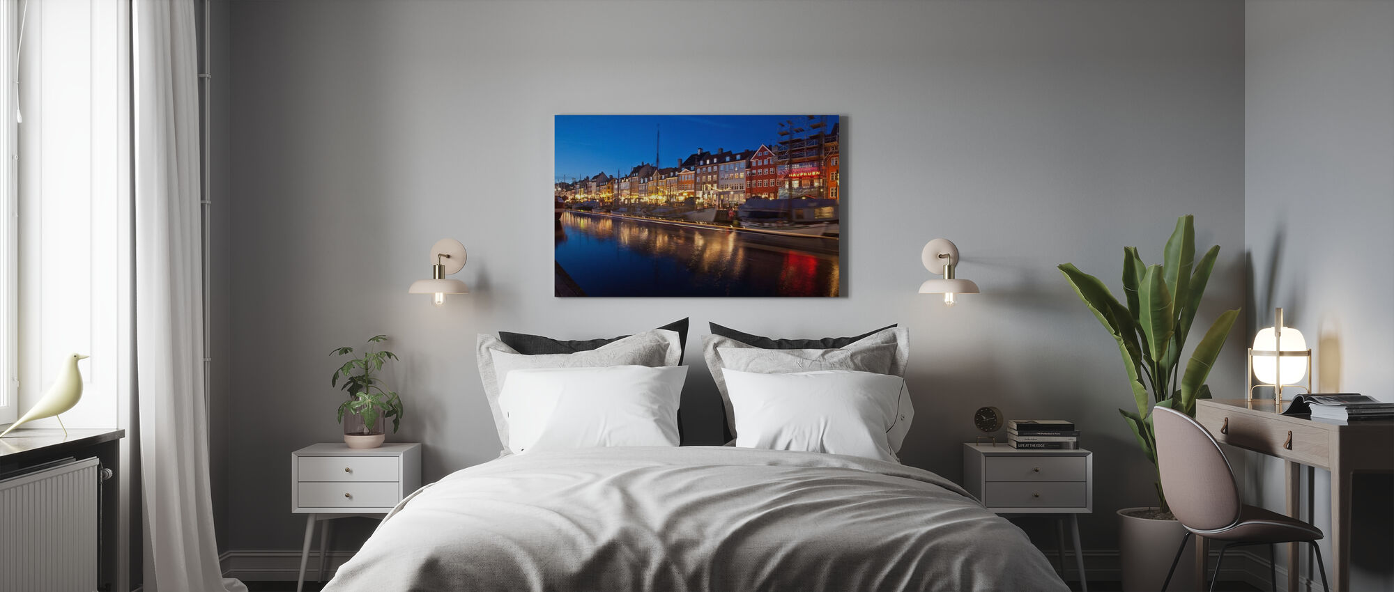 Nacht in Nyhavn, Kopenhagen, Dänemark - Leinwandbild - Schlafzimmer