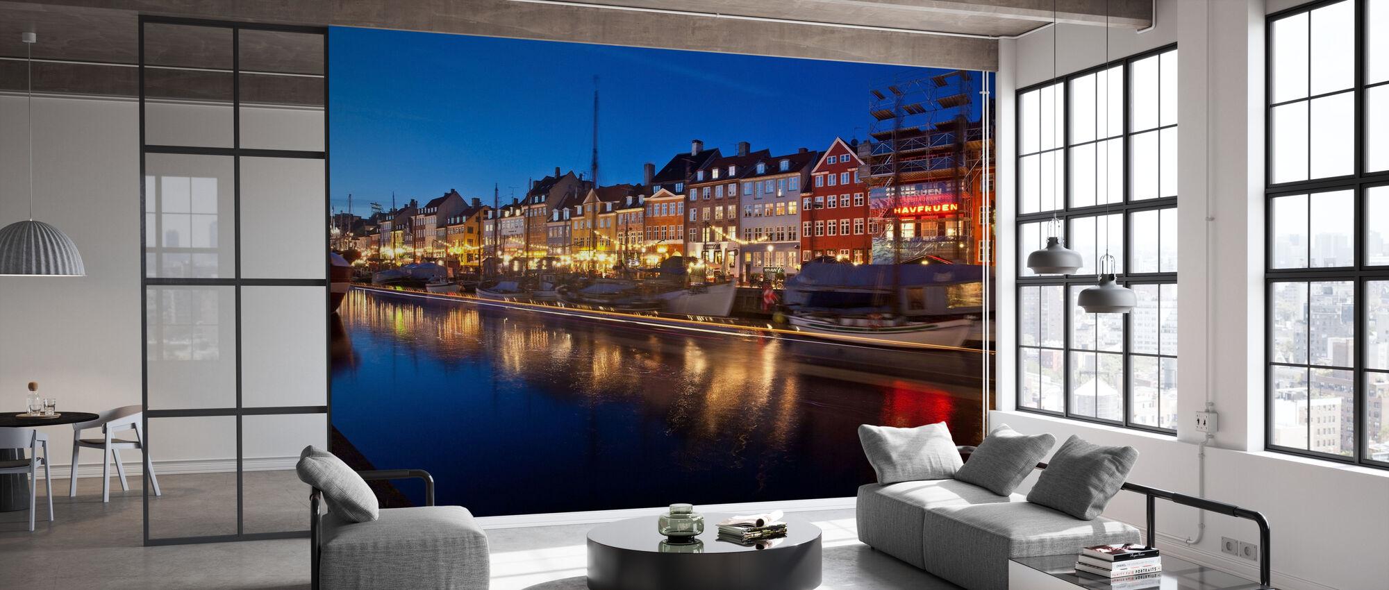 Natt i Nyhavn, København, Danmark - Tapet - Kontor