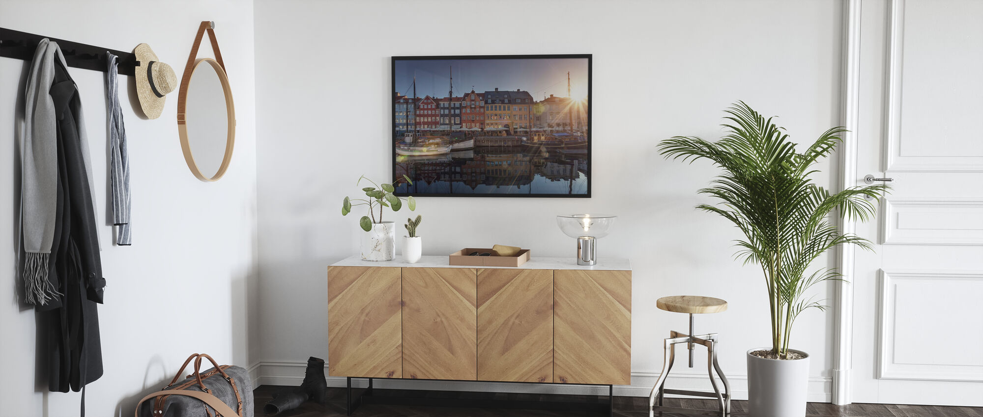Solnedgang i Nyhavn, København, Danmark - Plakat - Gang
