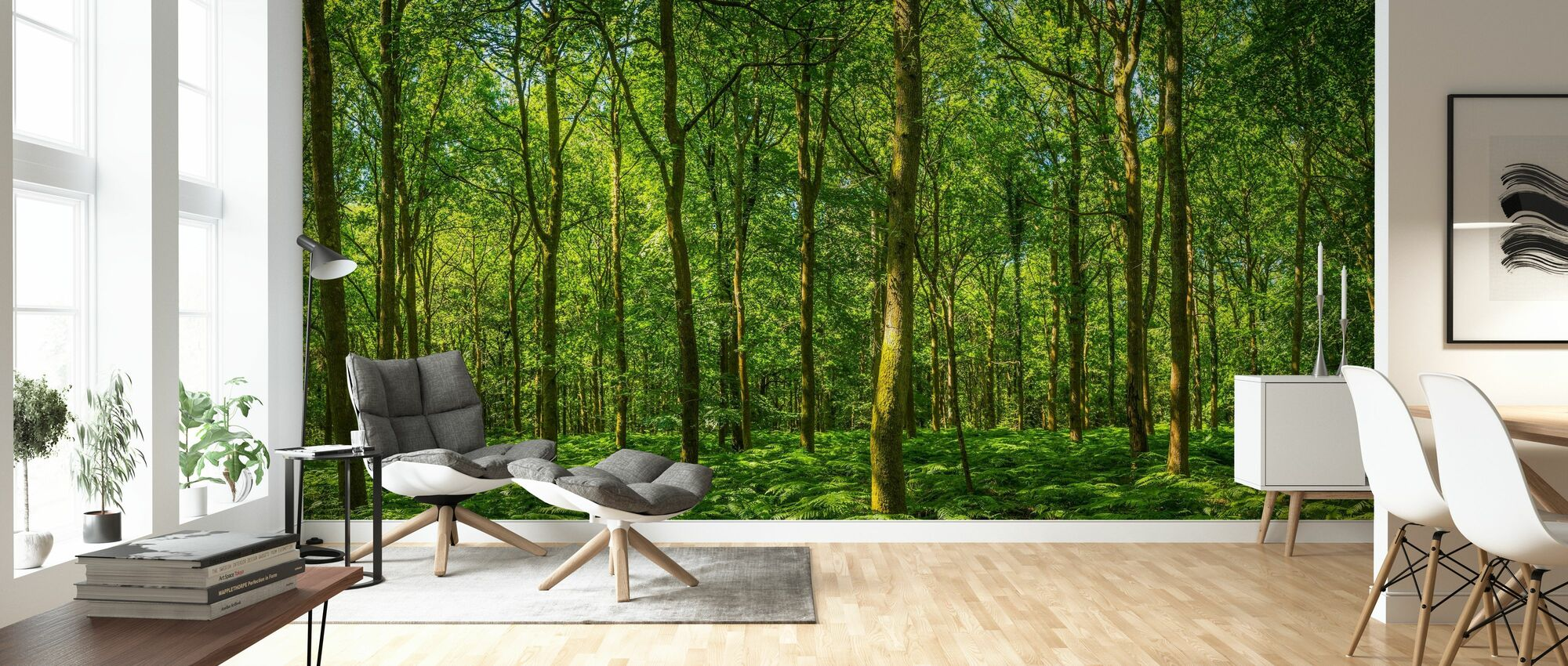 Emerald Green Panorama Forest - Wallpaper - Living Room