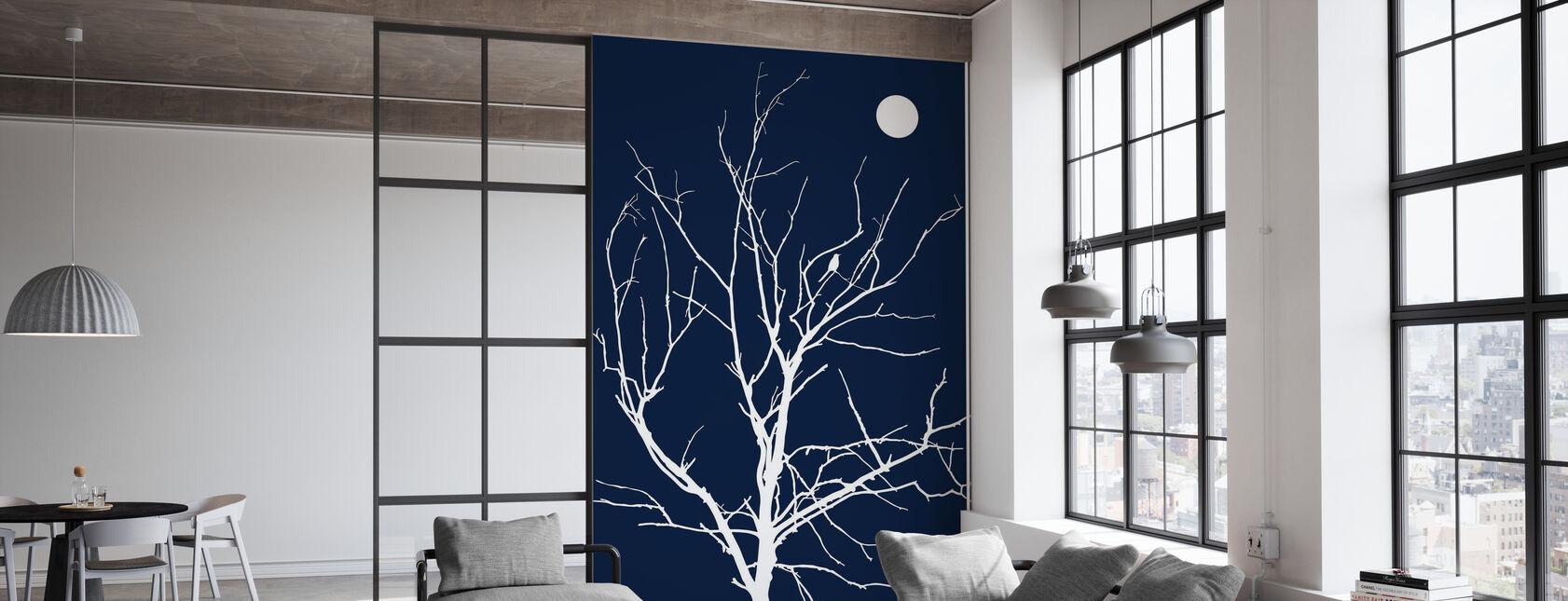 Lonely Bird Night Moon - Wallpaper - Office