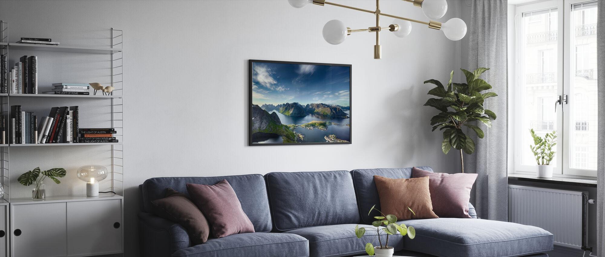 Panoramautsikt över Reine i Lofoten, Norge - Inramad tavla - Vardagsrum