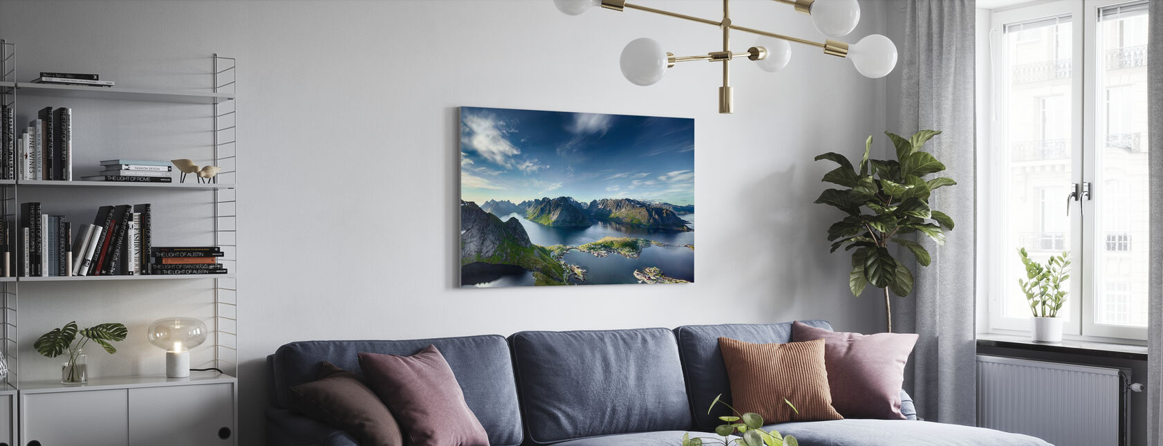 Panoramisch uitzicht op Reine in Lofoten, Noorwegen - Canvas print - Woonkamer