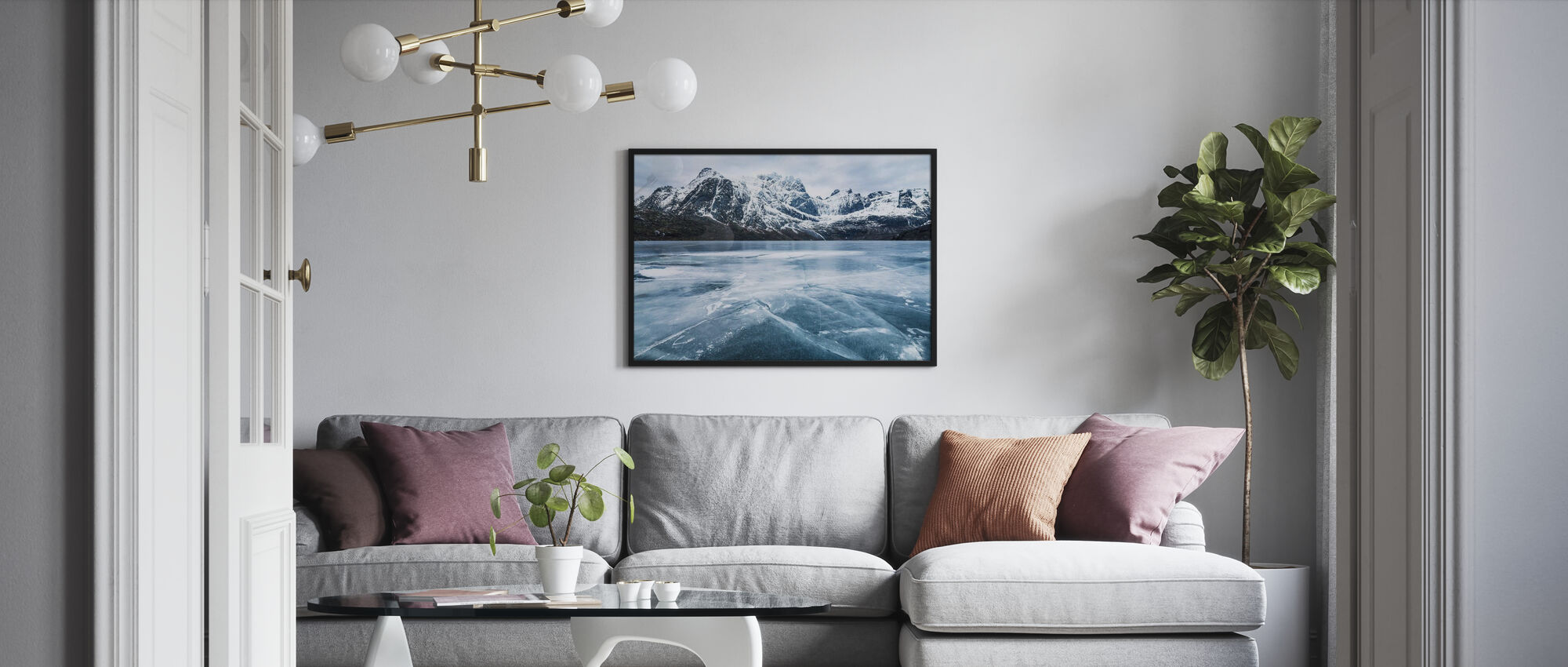Frozen Water and Mountain Range - Poster - Living Room