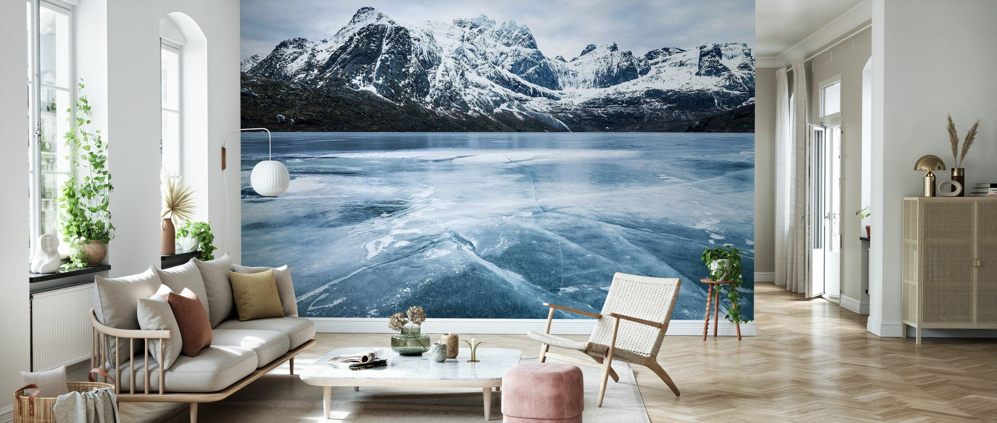 Frozen Water and Mountain Range - Wallpaper - Living Room