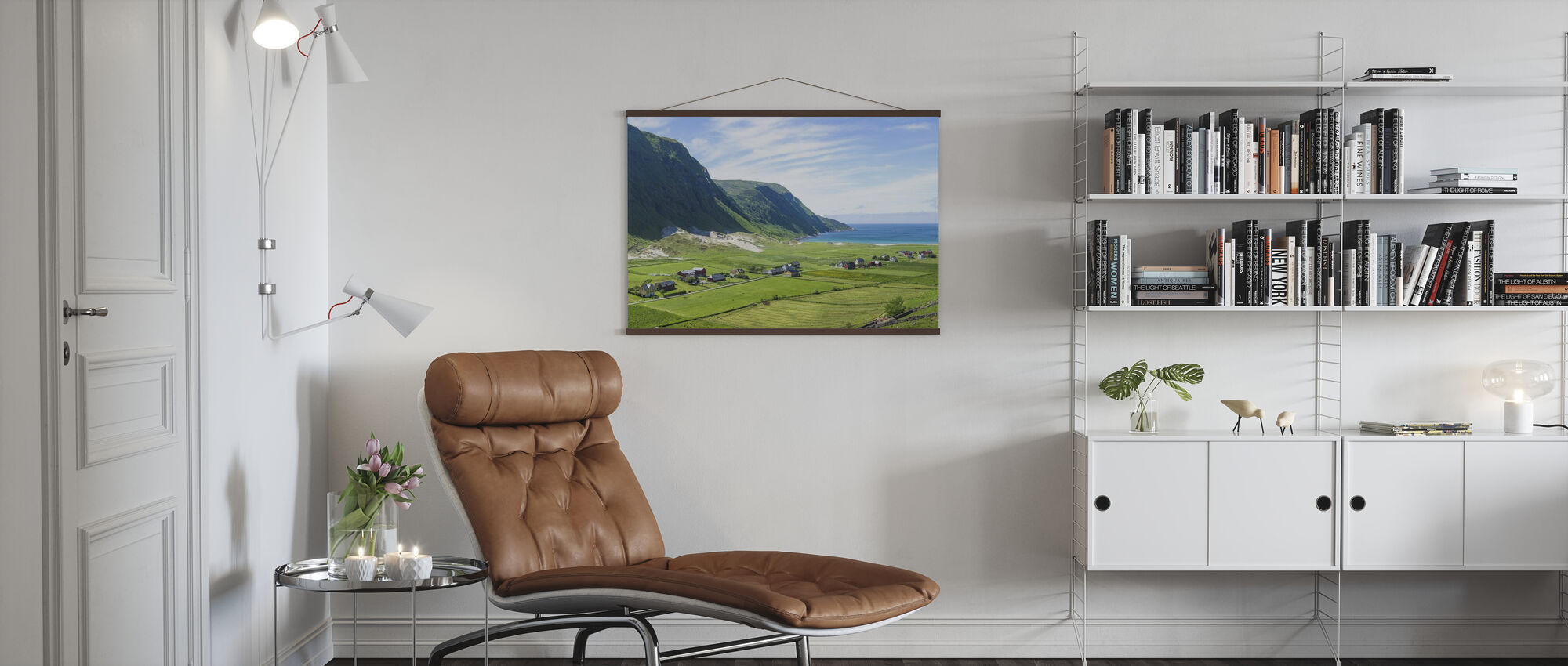 Buildings Among Green Fields, Norway - Poster - Living Room