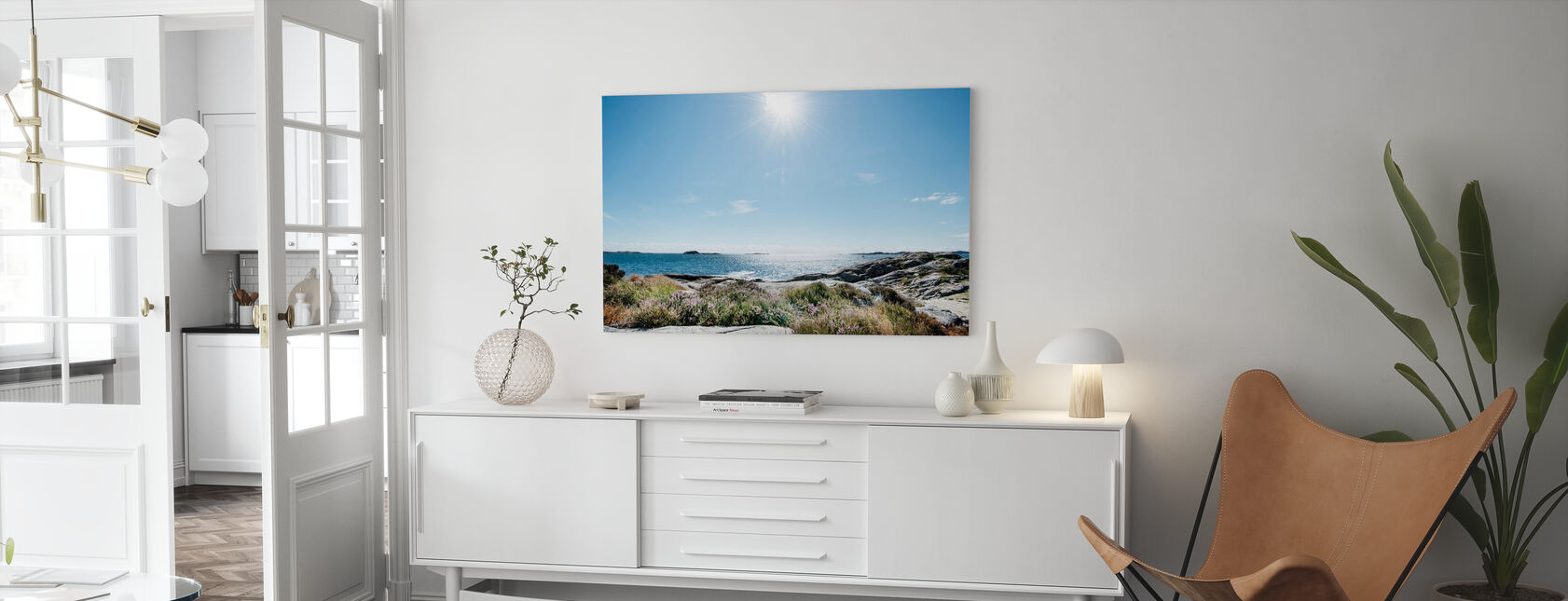 Hav i sterkt sollys, Sør-Norge - Lerretsbilde - Stue