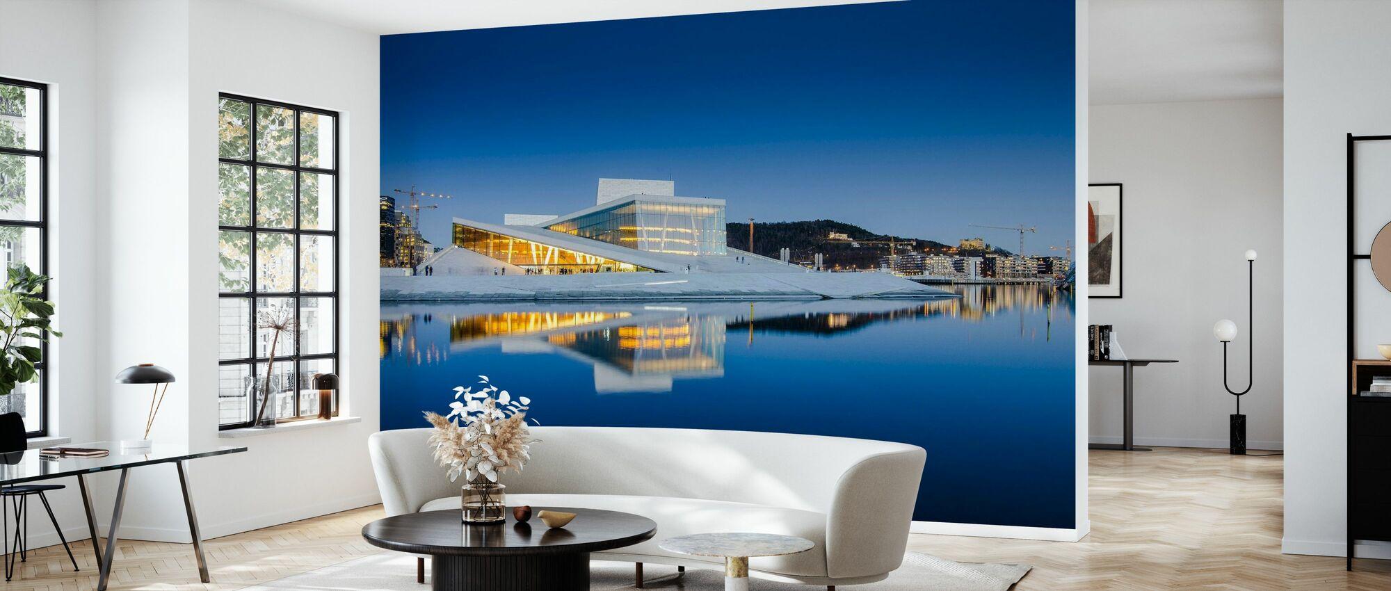 Teatro dell'Opera di Oslo di notte - Carta da parati - Salotto
