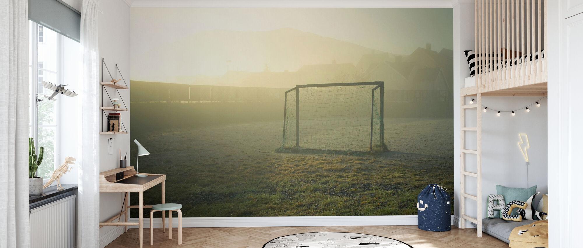 Soccer Field in Sunlight - Wallpaper - Kids Room