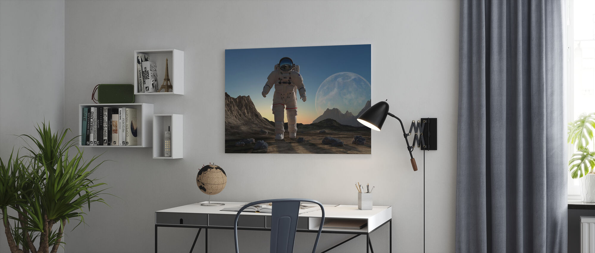 Astronaut in Space Sunset - Canvas print - Office