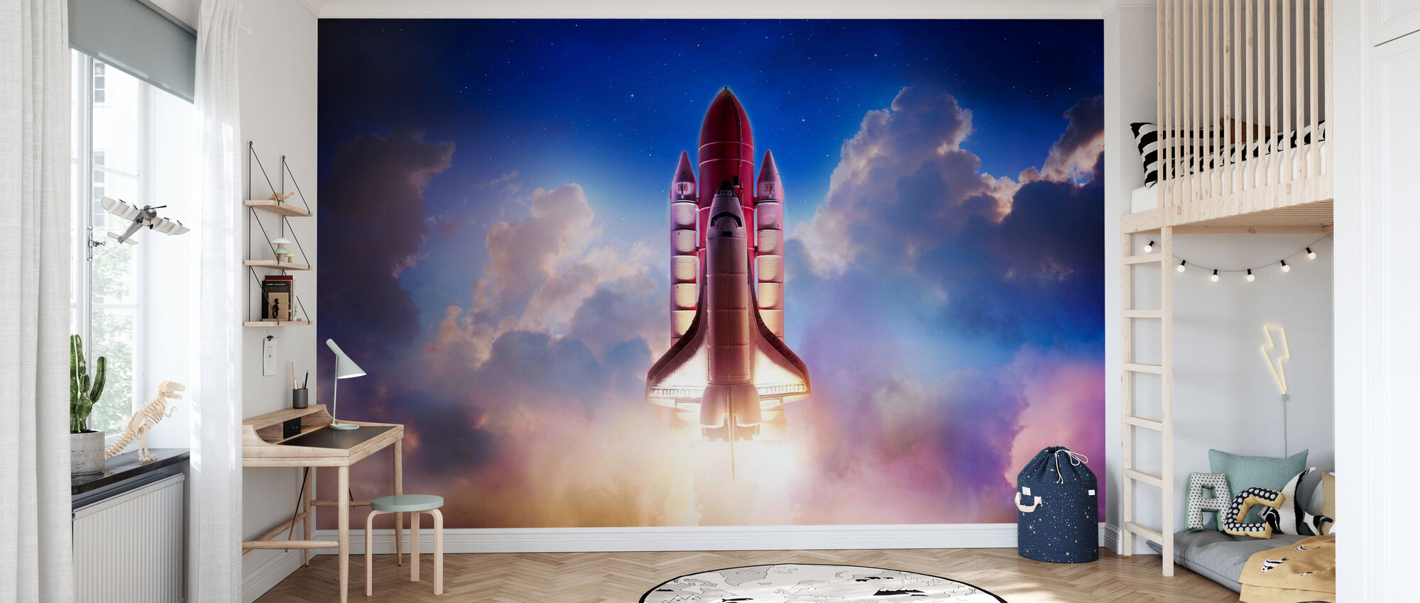 Dragkraft ut i rymden - Tapet - Barnrum
