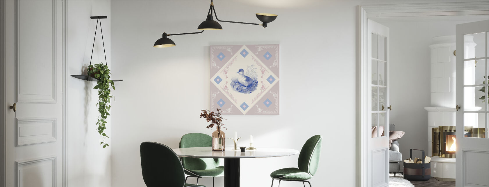 Duck, Azul Rosa - Lienzo - Cocina