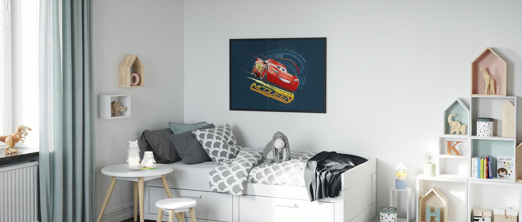Autot 3 - Lightning McQueen 95 - Kehystetty kuva - Lastenhuone