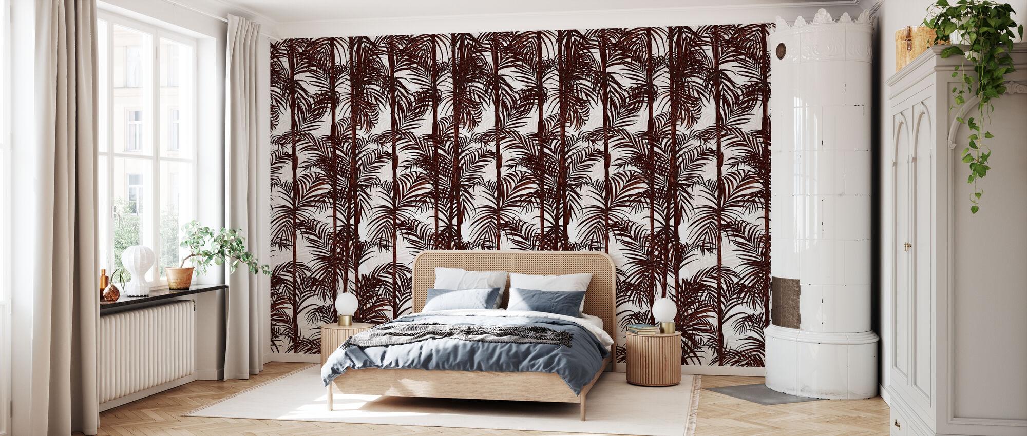 Plantkunde Bamboe - Diep Rood - Behang - Slaapkamer