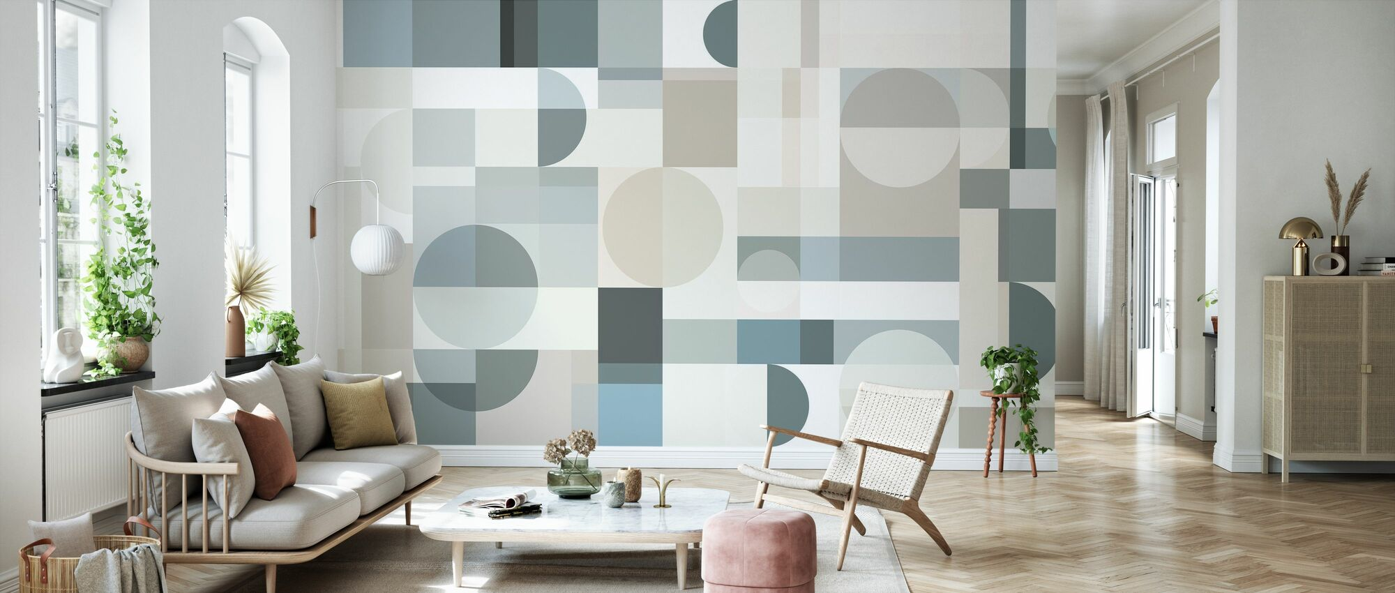 Geometry - Beige - Wallpaper - Living Room