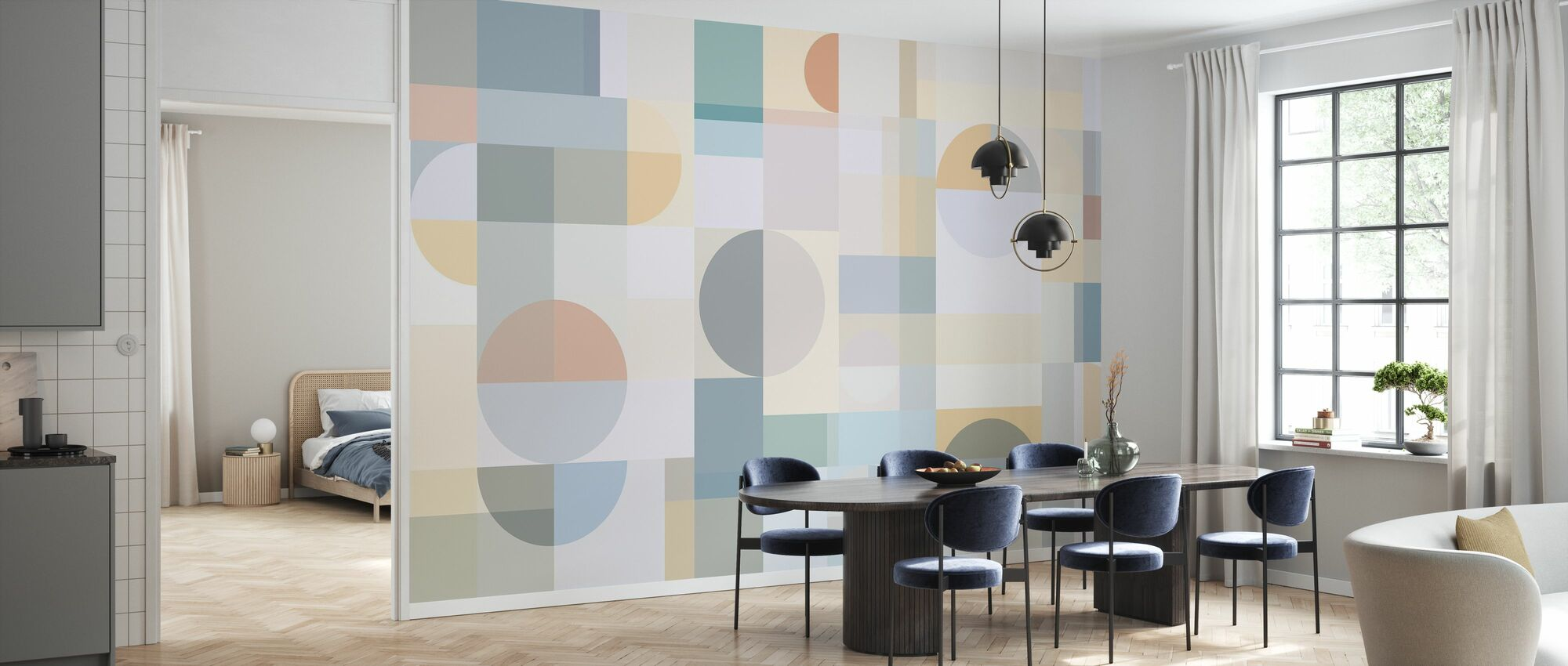 Géométrie - Jaune - Papier peint - Cuisine