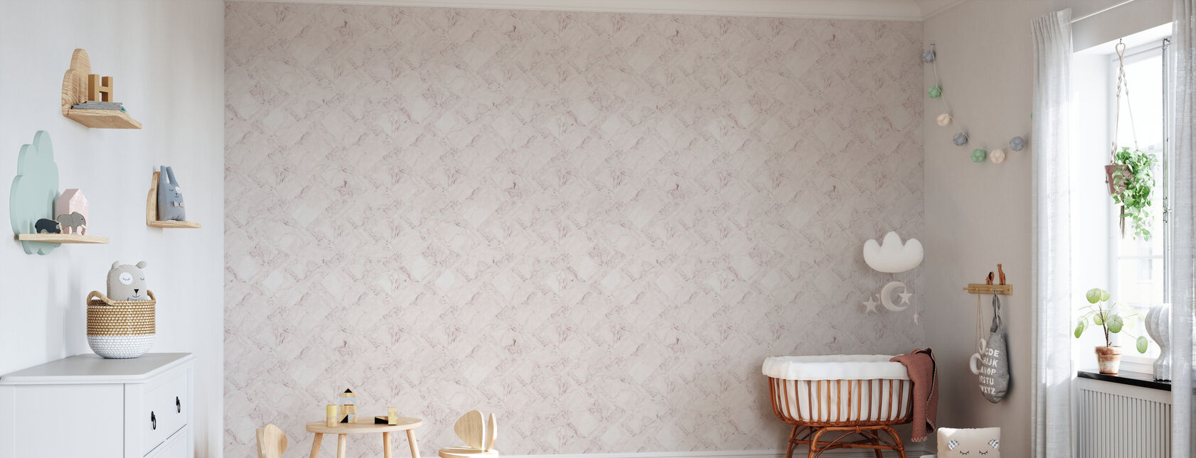 Marble Tiles - Pink - Wallpaper - Nursery