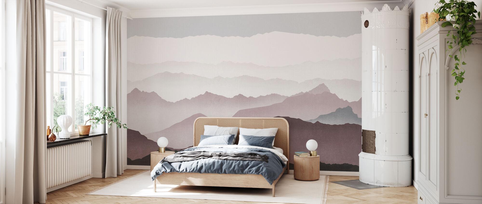 Misty landskab - Blomme - Tapet - Soveværelse